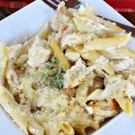 Grilled Chicken Alfredo Pasta Bake | Can't Stay Out of the Kitchen | this amazing #pasta #recipe tops #penne #noodles with a fantastic #AlFredoSauce, #Chicken & #PankoBreadCrumbs on top. It's kid-friendly & such mouthwatering comfort food. #Casserole #ChickenAlfredo #Easter #MothersDay #FathersDay #ChickenCasserole #ParmesanCheese