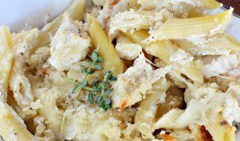 Grilled Chicken Alfredo Pasta Bake
