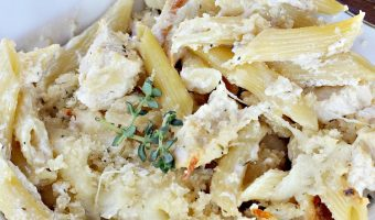 Grilled Chicken Alfredo Pasta Bake
