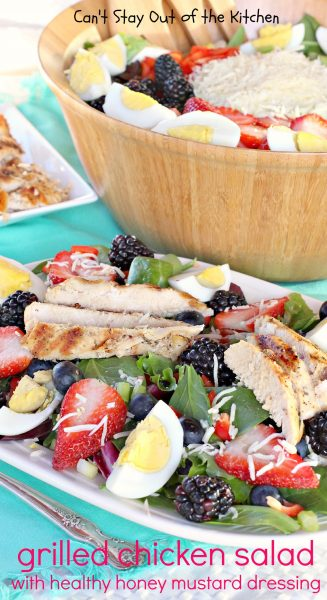 Grilled Chicken Salad with Healthy Honey Mustard Dressing | Can't Stay Out of the Kitchen