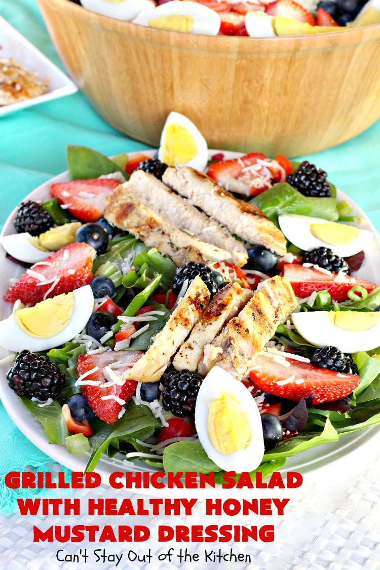 Grilled Chicken Salad with Healthy Honey Mustard Dressing