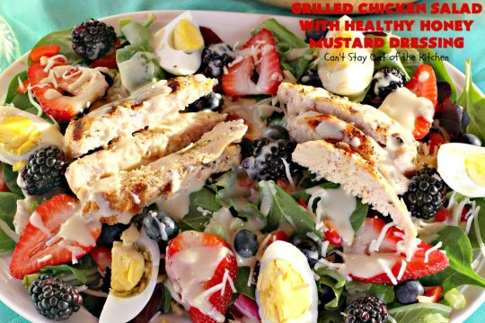 Grilled Chicken Salad with Healthy Honey Mustard Dressing | Can't Stay Out of the Kitchen | this fantastic main dish #salad is terrific for hot summer nights when you don't want to use your oven! It's also great for company dinners. It includes a wonderful homemade #HoneyMustard dressing. #glutenfree #chicken