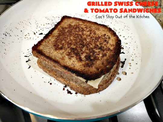 Grilled Swiss Cheese and Tomato Sandwiches | Can't Stay Out of the Kitchen | these fantastic #GrilledCheese #sandwiches are made with #SwissCheese & #tomatoes. They're always highly requested by others. Every bite is hearty, filling & totally satisfying. Great for #tailgating parties too. #GrilledCheeseSandwiches #GrilledSwissCheeseAndTomatoSandwiches