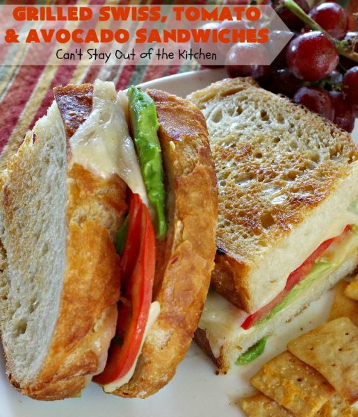 Grilled Swiss, Tomato and Avocado Sandwiches | Can't Stay Out of the Kitchen | these fantastic #sandwiches are always a huge hit when we make them. These are particularly good for a quick weekend lunch or meal when you've been busy with sporting events. Also great for #tailgating parties. #SwissCheese #tomatoes #avocados #MeatlessMonday #GrilledCheeseSandwiches #GrilledSwissTomatoAndAvocadoSandwiches