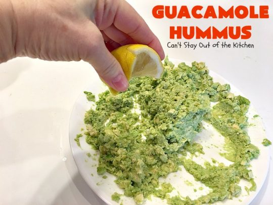 Guacamole Hummus | Can't Stay Out of the Kitchen | this fabulous #appetizer combines the best #guacamole with the best #hummus. It's terrific for #tailgating parties or any potluck. #avocados #chickpeas #vegan #glutenfree