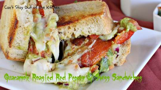 Guacamole, Roasted Red Pepper and Swiss Sandwiches - IMG_3488