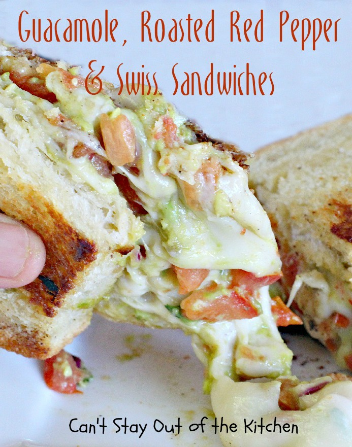 Guacamole, Roasted Red Pepper and Swiss Sandwiches