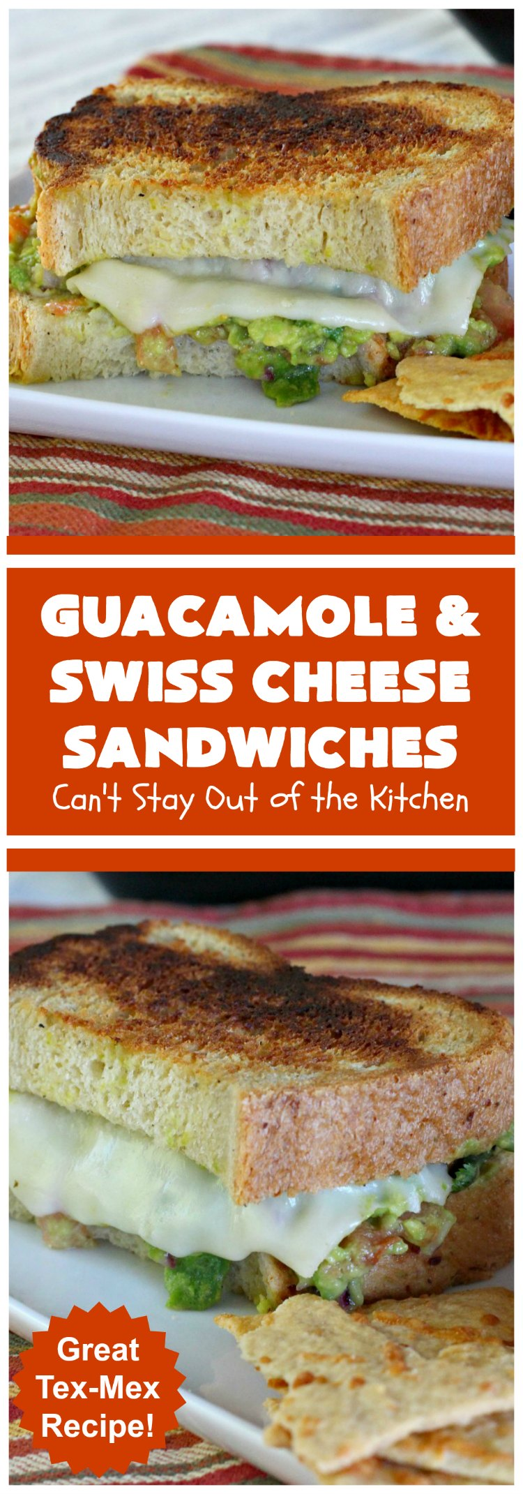Guacamole and Swiss Cheese Sandwiches | Can't Stay Out of the Kitchen | the best of both worlds! #Guacamole plus #GrilledCheese! These #sandwiches are fantastic. Terrific for #tailgating parties or any time you want a quick lunch or supper. #avocados #SwissCheese #GuacamoleAndSwissCheeseSandwiches