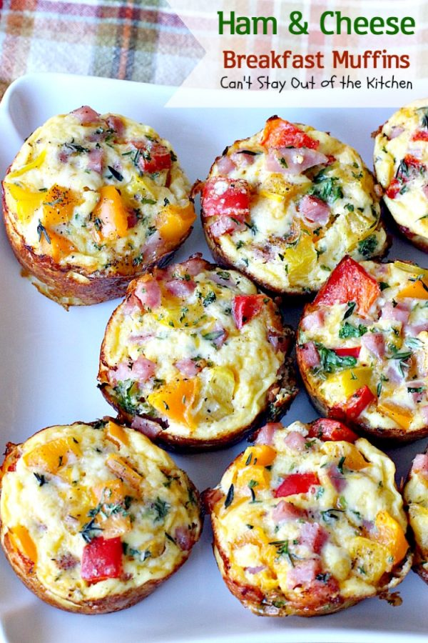 Ham and Cheese Breakfast Muffins | Can't Stay Out of the Kitchen | these #breakfast #muffins are so scrumptious. They're great for on-the-go breakfasts, too. #ham #eggs #cheese #hashbrowns #glutenfree