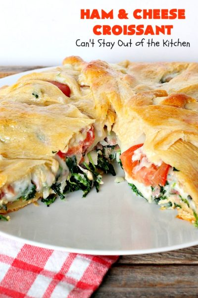 Ham and Cheese Croissant | Can't Stay Out of the Kitchen | this fabulous #breakfast #croissant is perfect for #holidays or company. It's filled with #ham, #Swisscheese, #spinach & #tomatoes. It's so mouthwatering you won't be able to stop eating!