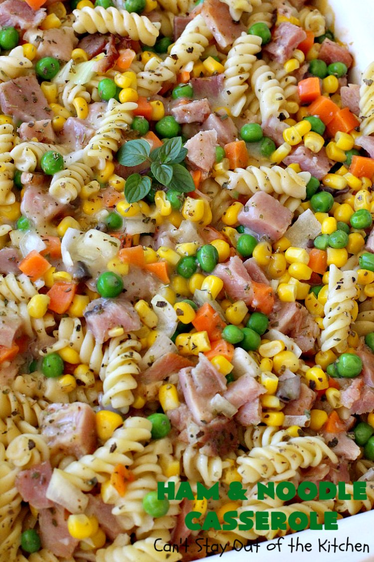 Ham and Noodle Casserole | Can't Stay Out of the Kitchen | this hearty & satisfying #casserole is a terrific way to use up leftover #holiday #ham from #Thanksgiving or #Christmas. It's a kid-friendly meal that will soon become a family favorite. #noodles #pasta #peas #corn #carrots #HamAndNoodleCasserole