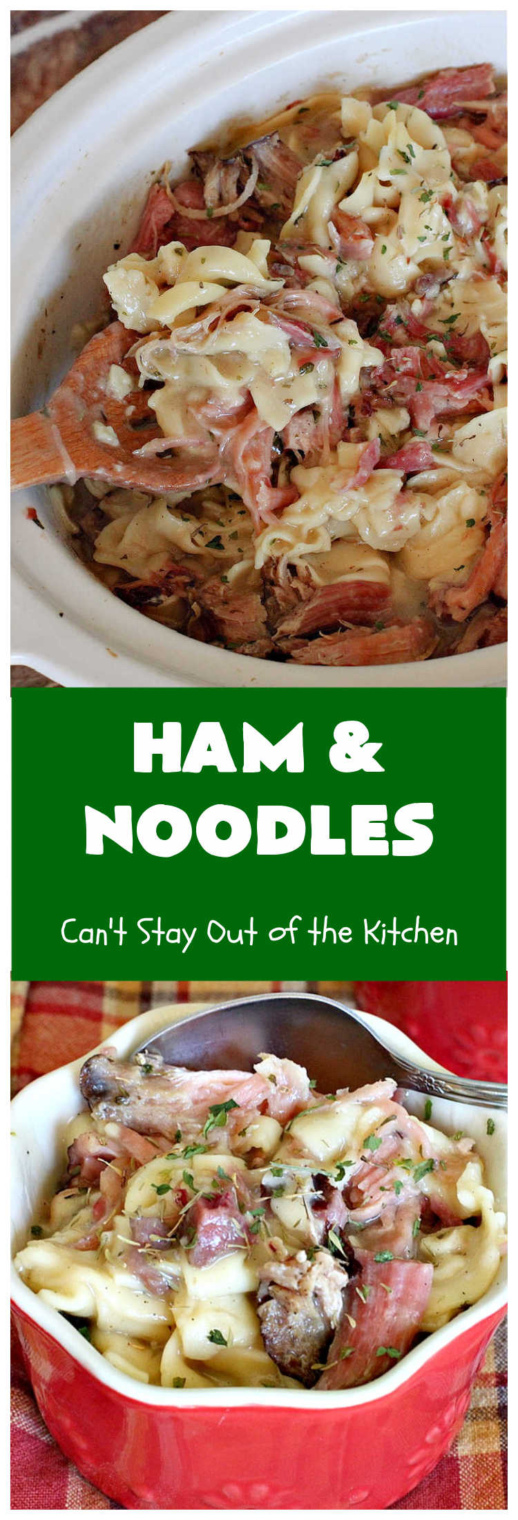 Ham and Noodles | Can't Stay Out of the Kitchen | this mouthwatering #recipe is a terrific way to use up leftover #holiday #ham. It's made in the #SlowCooker & so easy. Savory, sumptuous stick-to-the-ribs meal. #noodles #pasta #HamAndNoodles