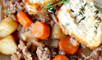 Hamburger Pot Pie with Herb Biscuits