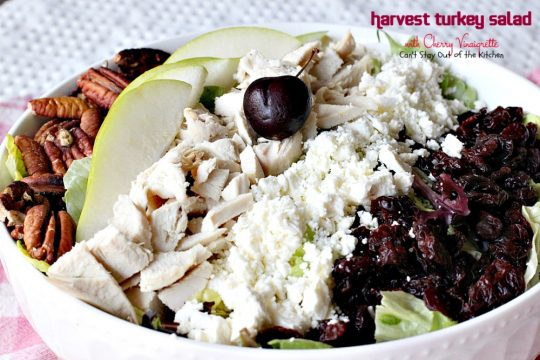Harvest Turkey Salad with Cherry Vinaigrette | Can't Stay Out of the Kitchen | fabulous #PaneraBread copycat recipe with #driedcherries in the #salad and #cherrypreserves in the salad dressing. Great with leftover #turkey or #chicken. #glutenfree #pears