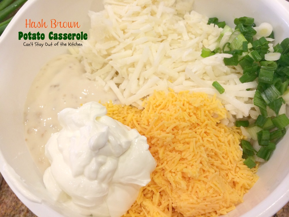 Place potatoes, sour cream, cream of mushroom soup, cheddar cheese and ...