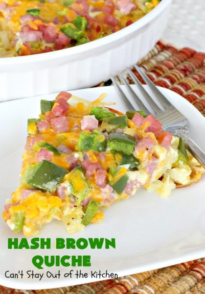 Hash Brown Quiche | Can't Stay Out of the Kitchen | this easy #quiche #recipe uses a #hashbrown crust. It's terrific for a #holiday #breakfast. #ham #cheddarcheese #glutenfree #pork #glutenfreequiche #HolidayBreakfast