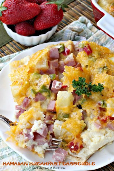 Hawaiian Breakfast Casserole | Can't Stay Out of the Kitchen | fabulous #breakfast #casserole made with King #Hawaiiansweetrolls. #ham #pineapple