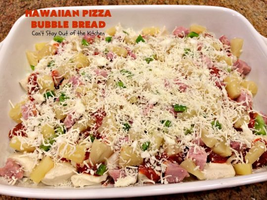Hawaiian Pizza Bubble Bread | Can't Stay Out of the Kitchen | this easy 6-ingredient recipe can be served as a #bread, an #appetizer, or a #pizza main dish. It's incredibly good and terrific for #tailgating or #SuperBowl parties. #ham #mozzarella