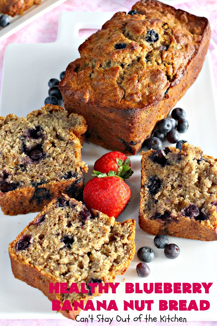 Healthy Blueberry Banana Nut Bread | Can't Stay Out of the Kitchen | this healthier version of #BananaBread uses #WholeWheatFlour, honey & #Flaxseeds. It's absolutely delicious. It's the perfect #recipe for a company or #holiday #breakfast. Everyone loves it! #bread #BlueberryBread #bananas #Healthy ##HealthyBlueberryBananaNutBread #pecans