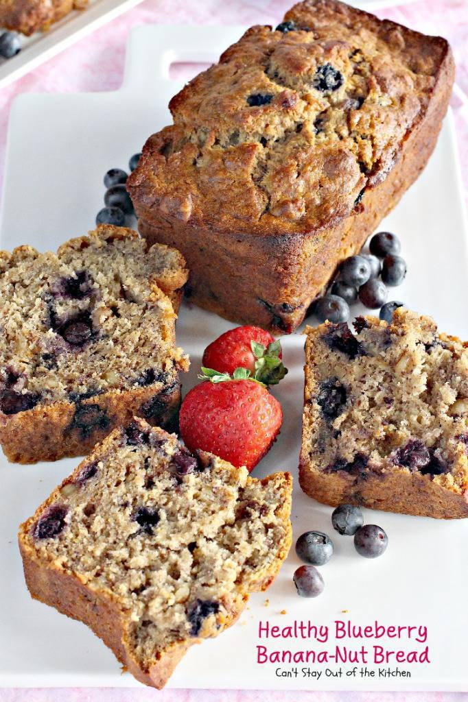 Healthy Blueberry Banana-Nut Bread | Can't Stay Out of the Kitchen | this lovely #blueberry #bread is healthy as well as delicious! #breakfast #bananas