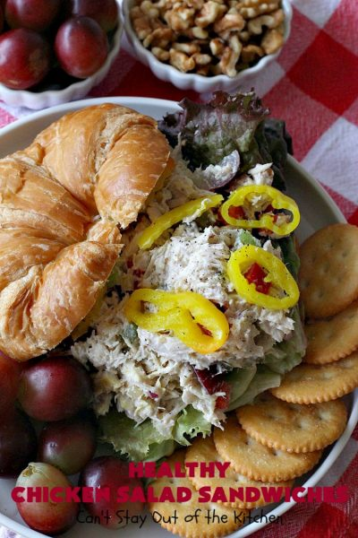 Healthy Chicken Salad Sandwiches | Can't Stay Out of the Kitchen | these amazing #ChickenSalad #sandwiches include #grapes, #walnuts & #IcelandicSkyrYogurt instead of mayonnaise! This healthier version of #ChickenSaladSandwiches is perfect for #tailgating parties or lunches. Our company drooled over them! #healthy #HealthyChickenSaladSandwiches #NoMayonnaiseChickenSalad