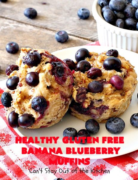 Healthy Gluten Free Banana Blueberry Muffins | Can't Stay Out of the Kitchen | these amazing #blueberry #muffins are perfect for a #company or #holiday #breakfast like #MothersDay or #FathersDay. This recipe uses #glutenfree flour & coconut sugar for a healthy, clean-eating alternative. #bananas