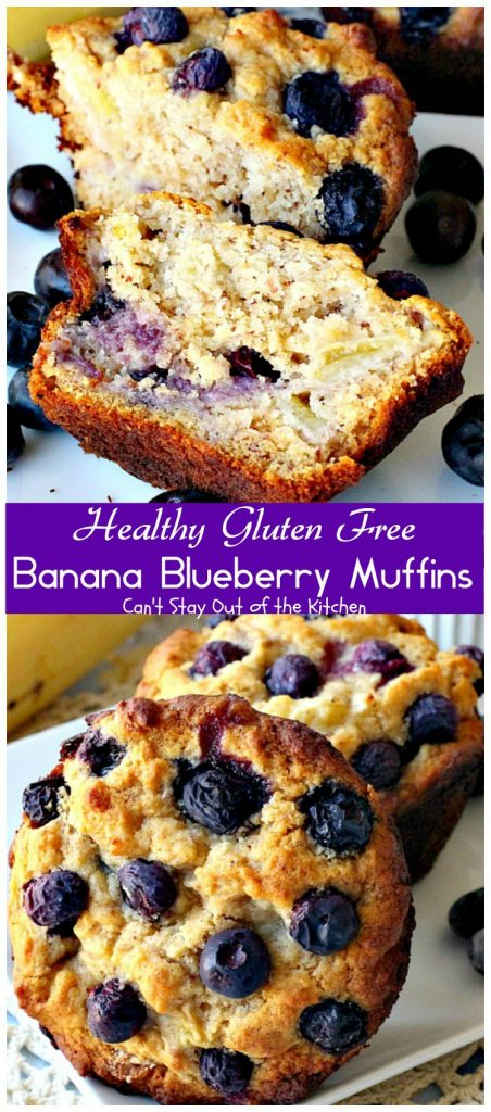 Healthy Gluten Free Banana Blueberry Muffins | Can't Stay Out of the Kitchen