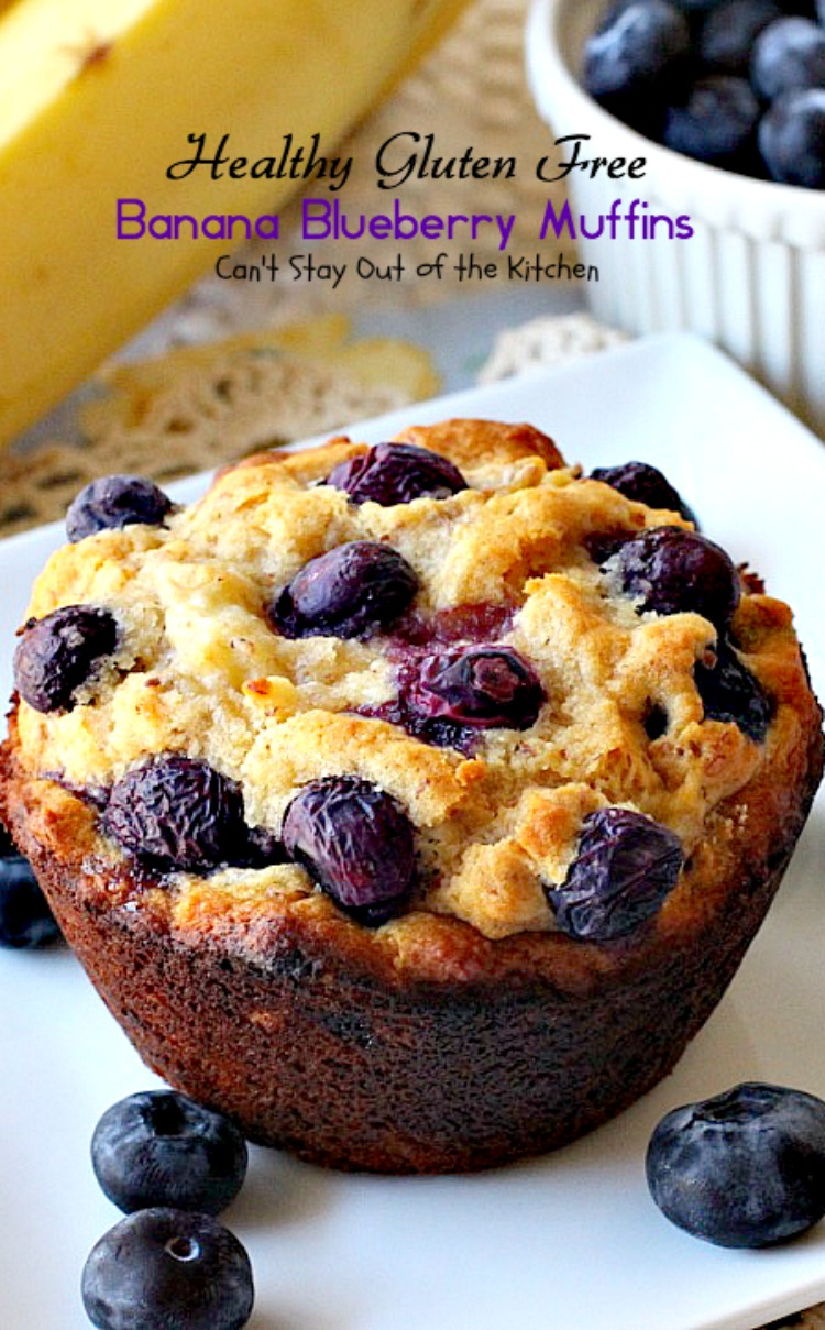 Healthy Gluten Free Banana Blueberry Muffins | Can't Stay Out of the ...
