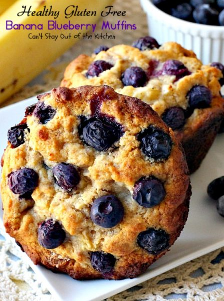 Healthy Gluten Free Banana Blueberry Muffins | Can't Stay Out of the Kitchen | We love these delicious #blueberry #breakfast #muffins. This healthy, #clean-eating recipe uses honey instead of sugar and #glutenfree flour instead of regular. Great way to use up overripe #bananas!