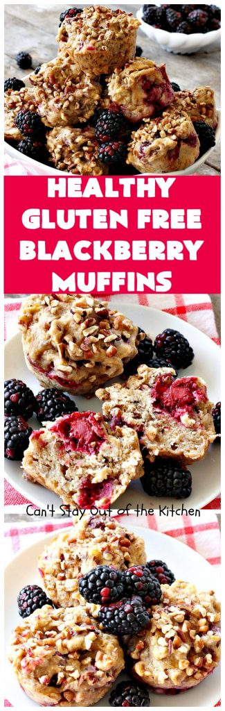 Healthy Gluten Free Blackberry Muffins | Can't Stay Out of the Kitchen | these fantastic #blackberry #muffins are made with #glutenfree flour & coconut sugar for a healthy alternative to regular muffins. They're perfect for a #holiday #breakfast like #MothersDay or #FathersDay.