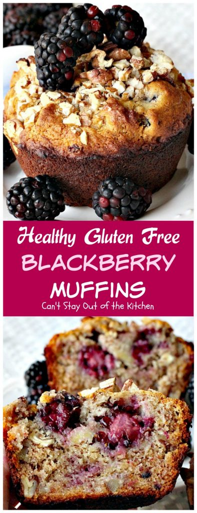 Healthy Gluten Free Blackberry Muffins | Can't Stay Out of the Kitchen | These luscious #muffins are incredibly scrumptious. You'll never believe they're healthy & #clean-eating. Great for a #holiday #breakfast too. #blackberries #bananas