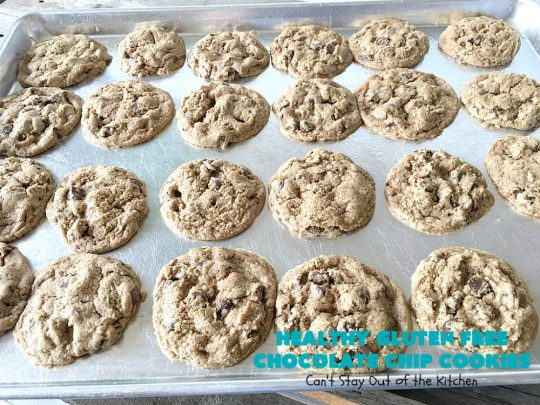 Healthy Gluten Free Chocolate Chip Cookies | Can't Stay Out of the Kitchen | these fantastic #chocolatechipcookies are made with #Krusteaz #glutenfree flour & coconut sugar. It's hard to believe this amazing #dessert is gluten free. #tailgating #chocolate #cookie