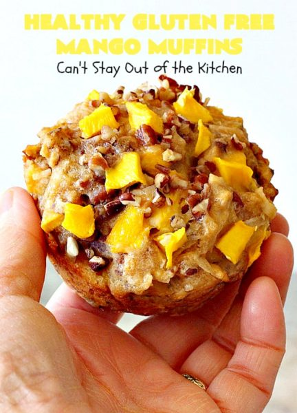 Healthy Gluten Free Mango Muffins | Can't Stay Out of the Kitchen | these amazing #mango #muffins use #glutenfree flour & coconut sugar. They're a fantastic alternative to regular muffins. Great for a #holiday #breakfast like #MothersDay or #FathersDay, too.
