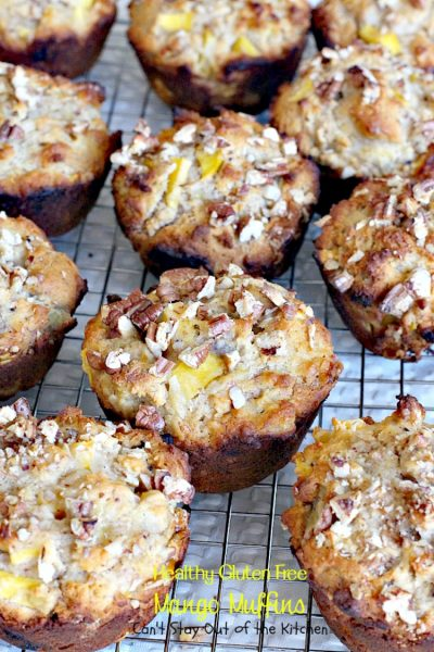 Healthy Gluten Free Mango Muffins | Can't Stay Out of the Kitchen | these delicious, healthy, & #clean-eating #muffins are a family favorite. Great for #holiday #breakfasts and as a way to use up overripe #bananas. #sugarless #glutenfree
