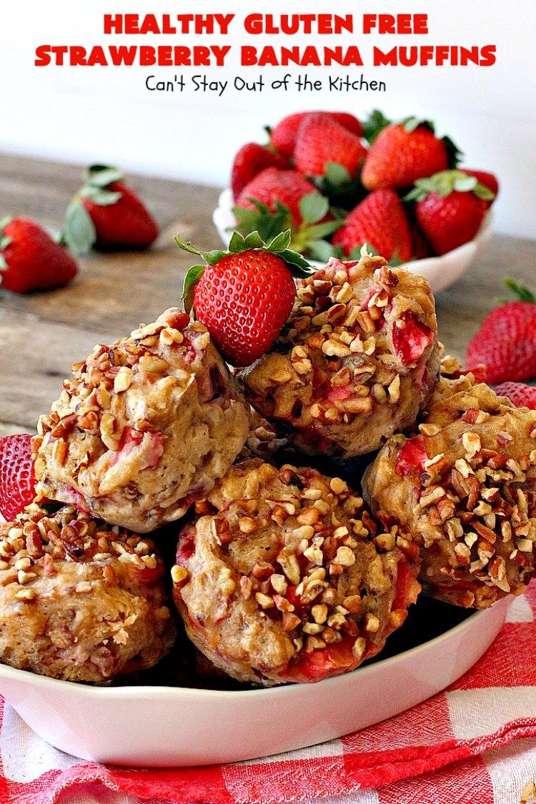 Healthy Gluten Free Strawberry Banana Muffins