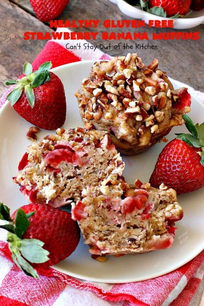 Healthy Gluten Free Strawberry Banana Muffins | Can't Stay Out of the Kitchen | We loved how these amazing #muffins turned out. They're filled with #bananas #strawberries & #pecans & made with #glutenfree flour & coconut sugar. Perfect for a #holiday #breakfast like #MothersDay or #FathersDay.
