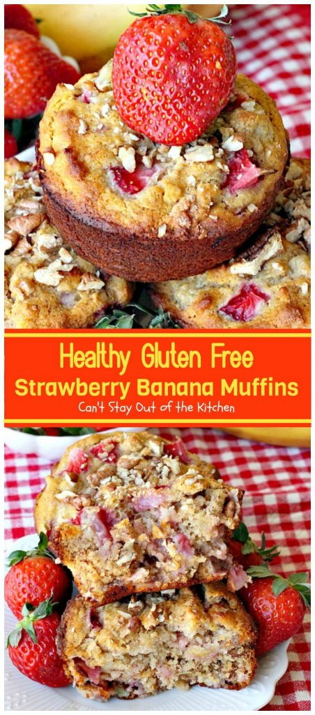 Healthy Gluten Free Strawberry Banana Muffins | Can't Stay Out of the Kitchen