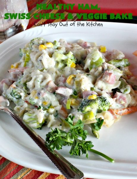 Healthy Ham, Swiss Cheese and Veggie Bake | Can't Stay Out of the Kitchen | this healthier version of #Ham and #Noodle #casserole uses a lot of fresh and frozen #veggies along with #GlutenFree #noodles and GF Flour in the sauce. If you're trying to eliminate canned soups from your diet, this one-dish meal is for you! It's also s a terrific way to use up leftover #holiday ham from #Thanksgiving or #Christmas. #pasta #SwissCheese #HamCasserole #HealthyHamSwissCheeseAndVeggieBake