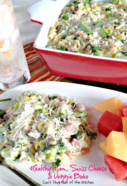 Healthy Ham, Swiss Cheese and Veggie Bake | Can't Stay Out of the Kitchen | healthier #casserole made with NO canned soups. #ham #veggies #pasta