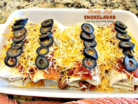 Hearty Beef Enchiladas | Can't Stay Out of the Kitchen | quick & easy #beef and bean #enchiladas with #salsa and enchilada sauce. #TexMex