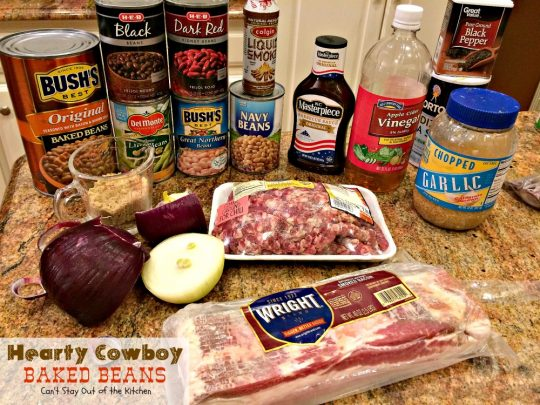 Hearty Cowboy Baked Beans | Can't Stay Out of the Kitchen | the most spectacular #bakedbeans #sidedish you'll ever eat! This one's filled with #groundbeef #bacon and 6 kinds of #beans!