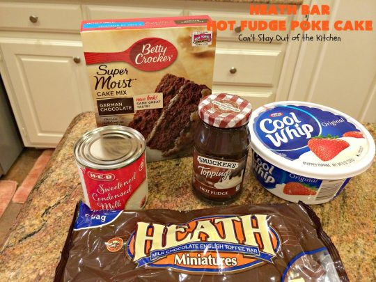 Heath Bar Hot Fudge Poke Cake | Can't Stay Out of the Kitchen | this fantastic #pokecake starts with a #chocolate #cake mix. After baking, it's spread with condensed milk & #hotfudge sauce. Then it's topped with loads of #HeathToffee bars! It is so incredibly amazing & perfect for company or any #holiday party. #dessert