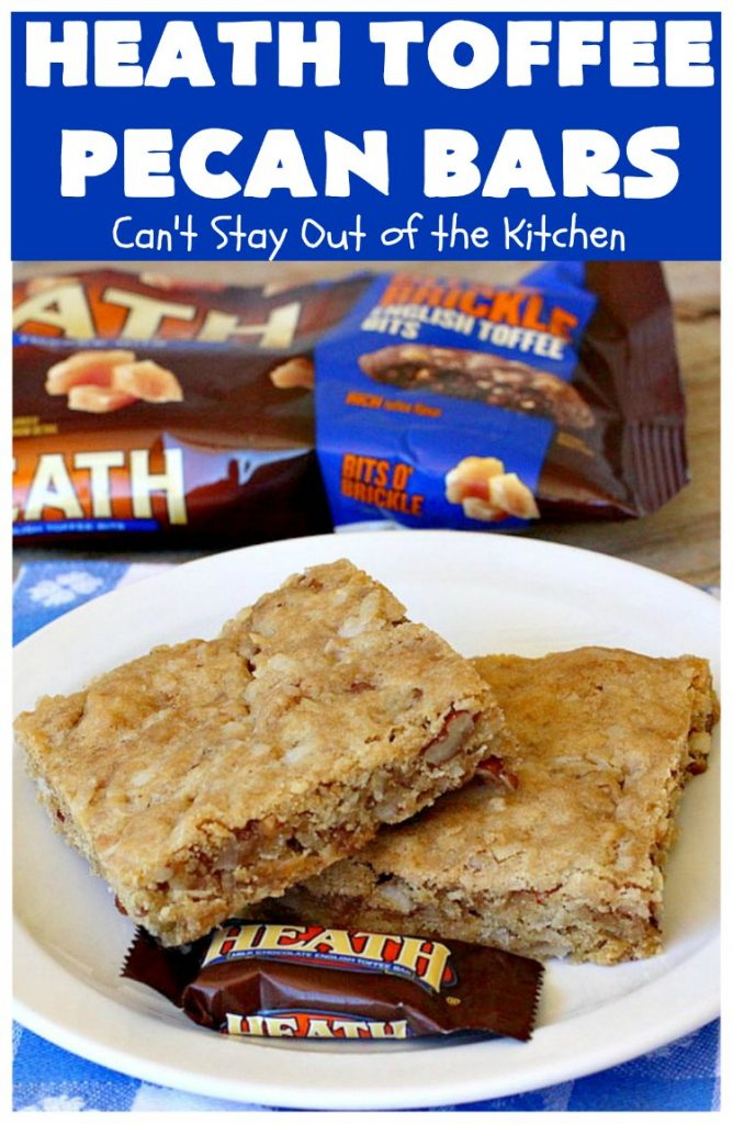 Heath Toffee Pecan Bars | Can't Stay Out of the Kitchen | these #cookies simply explode with flavor & crunchiness by using #HeathEnglishToffeeBits & #pecans. #tailgating #dessert #HeathToffeeBitsDessert #ToffeeDessert #HeathToffeePecanBars #holiday #HolidayDessert