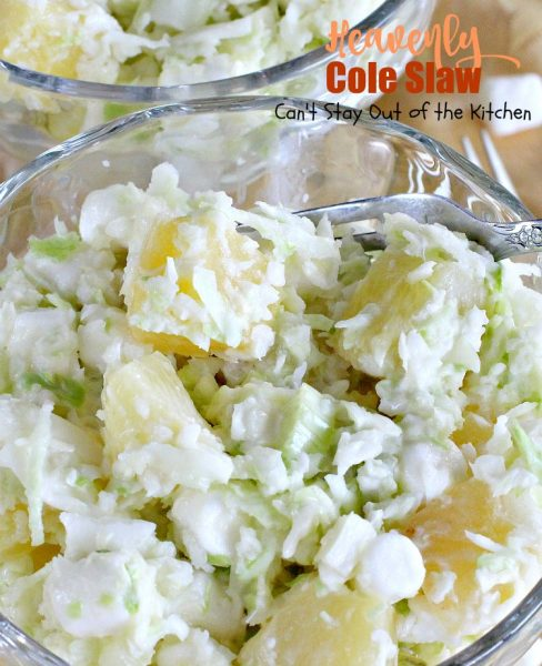 Heavenly Cole Slaw | Can't Stay Out of the Kitchen | this fantastic version of #coleslaw has #marshmallows & #pineapple. Perfect #salad for #MemorialDay & other summer #holidays. #cabbage #glutenfree