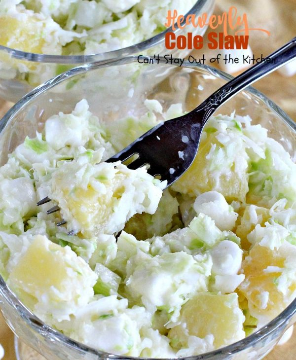 Heavenly Cole Slaw   Can't Stay Out of the Kitchen   this fantastic version of #coleslaw has #marshmallows & #pineapple. Perfect #salad for #MemorialDay & other summer #holidays. #cabbage #glutenfree