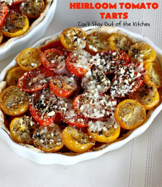 Heirloom Tomato Tarts | Can't Stay Out of the Kitchen | these fantastic #tarts use baby Heirloom #Tomatoes, four kinds of #cheese & they're seasoned to perfection. They're so mouthwatering your family will want you to make them often! #Asiago #Parmesan #Fontina #Romano #mushrooms #HeirloomTomatoes #TomatoPie #HeirloomTomatoTarts