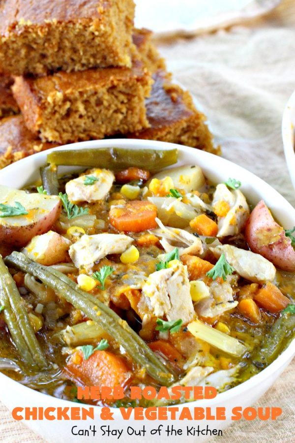 Herb Roasted Chicken and Vegetable Soup | Can't Stay Out of the Kitchen | This amazing #chicken #soup is filled with #potatoes, #carrots, #greenbeans, #corn & a lovely garlic & rosemary seasoning. It's perfect comfort food for fall. This hearty, filling & satisfying entree is also incredibly easy since it's made in the #crockpot. #glutenfree #slowcooker