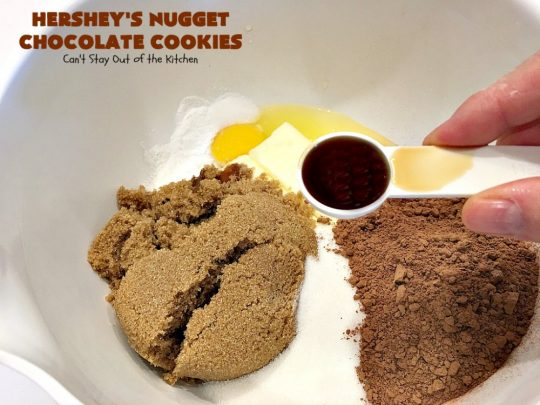 Hershey's Nugget Chocolate Cookies | Can't Stay Out of the Kitchen | these fantastic #chocolate #cookies have #HersheysNuggets added to the dough. Terrific way to use up #Halloween candy. #dessert