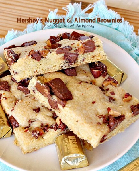 Hershey's Nugget and Almond Brownies | Can't Stay Out of the Kitchen | these decadent #brownies just dissolve in your mouth! #Hershey's candies make them a #chocolate lover's dream. #dessert