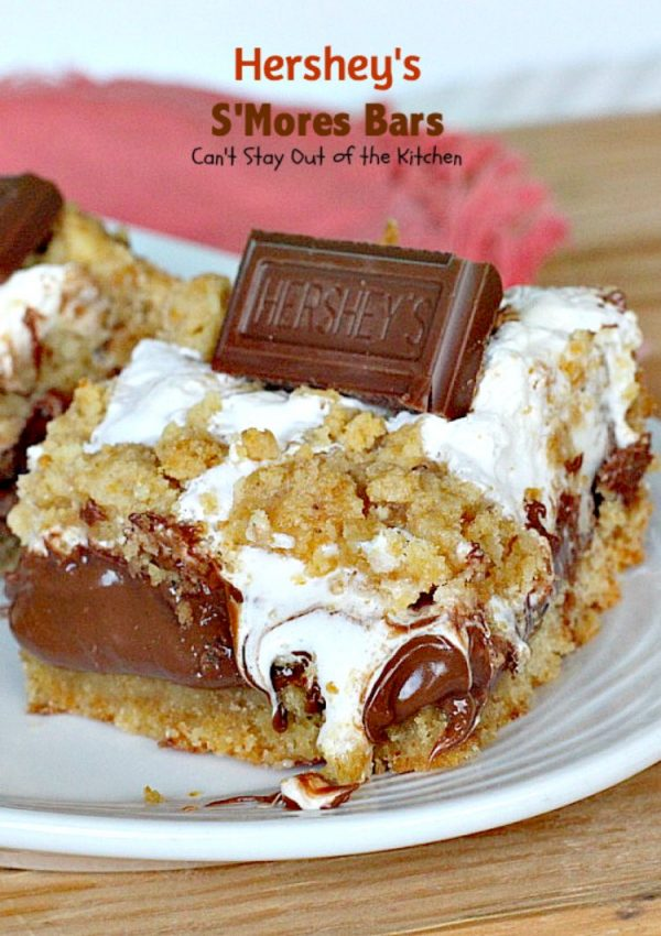 Hershey's S'Mores Bars | Can't Stay Out of the Kitchen | these outrageous #brownies are one of the most sensational, decadent #desserts you'll ever eat! We gorge ourselves on these! #chocolate #marshmallowcreme #Hershey'schocolatebars